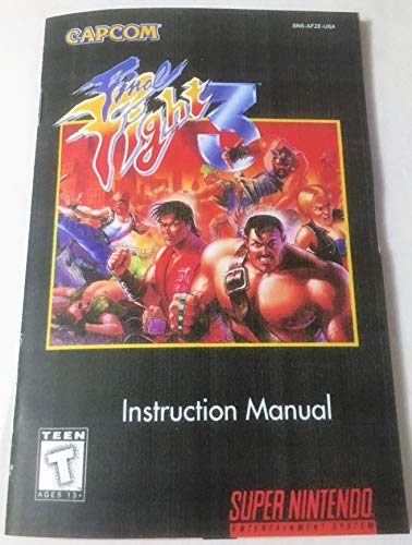 Final Fight 3 (Super Nintendo, SNES) - Reproduction Video Game Cartridge with Universal Game Case and Glossy Manual