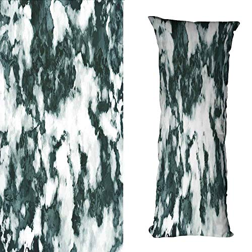 Cheerleaders Layered Look Top - DuckBaby Living Room Sofa Hug Pillowcase Marble Abstract Stone Facet Artistic Blurry Layered Shades Textured Image Suitable for Hair and Skin Health W19.5 xL59 Forest Green Pearl White