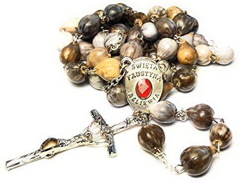Job's Tears Rosary 3rd Class relic Saint Faustina Kowalska Mystic and Visionary True Relic Rosary Apostle Divine of Mercy Jesus I Trust in You Three O' Clock Prayer Poland Polish Novena