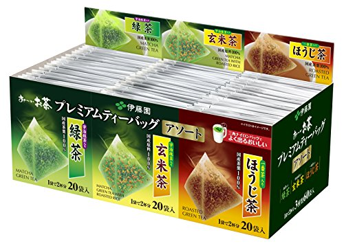 Itoen - Premium Tea Bag Set 60 packs : Ryokucha (Sencha Green tea), Houjicha, Genmaicha per 20 bags (Itoen Tea)
