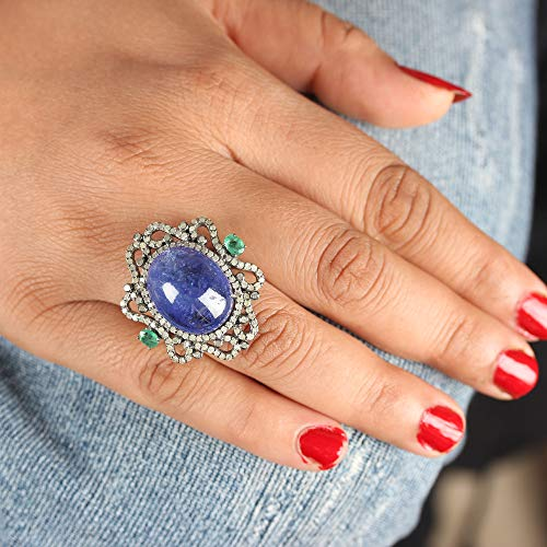 (Christmas Gift Tanzanite Gemstone Cocktail Ring Diamond Pave Emerald Handmade Solid 925 Sterling Silver Vintage Style Jewelry)