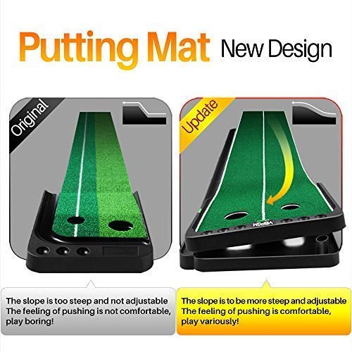 YBPGM 360° Rotory Golf Putting Auto Return System Professional Practice Green Long Challenging Putter Indoor/Outdoor Golf Training Mat Aid Equipment by YBPGM (Image #7)