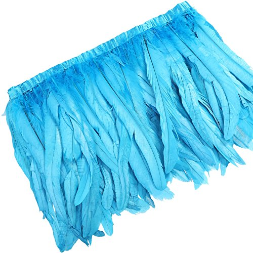 Rooster Hackle Feather Trim 10-12 inch in Width for DIY Sewing Crafts Decoration (Sky Blue, 1 Yard)