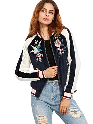 Embroidered Womens Jacket (Floerns Women's Casual Short Embroidered Floral Bomber Jacket Navy)