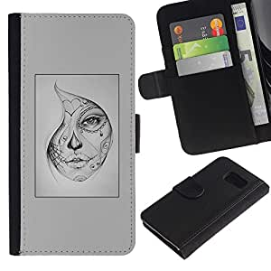 All Phone Most Case / Oferta Especial Cáscara Funda de cuero Monedero Cubierta de proteccion Caso / Wallet Case for Samsung Galaxy S6 // misteriosa mujer tatuaje de Halloween