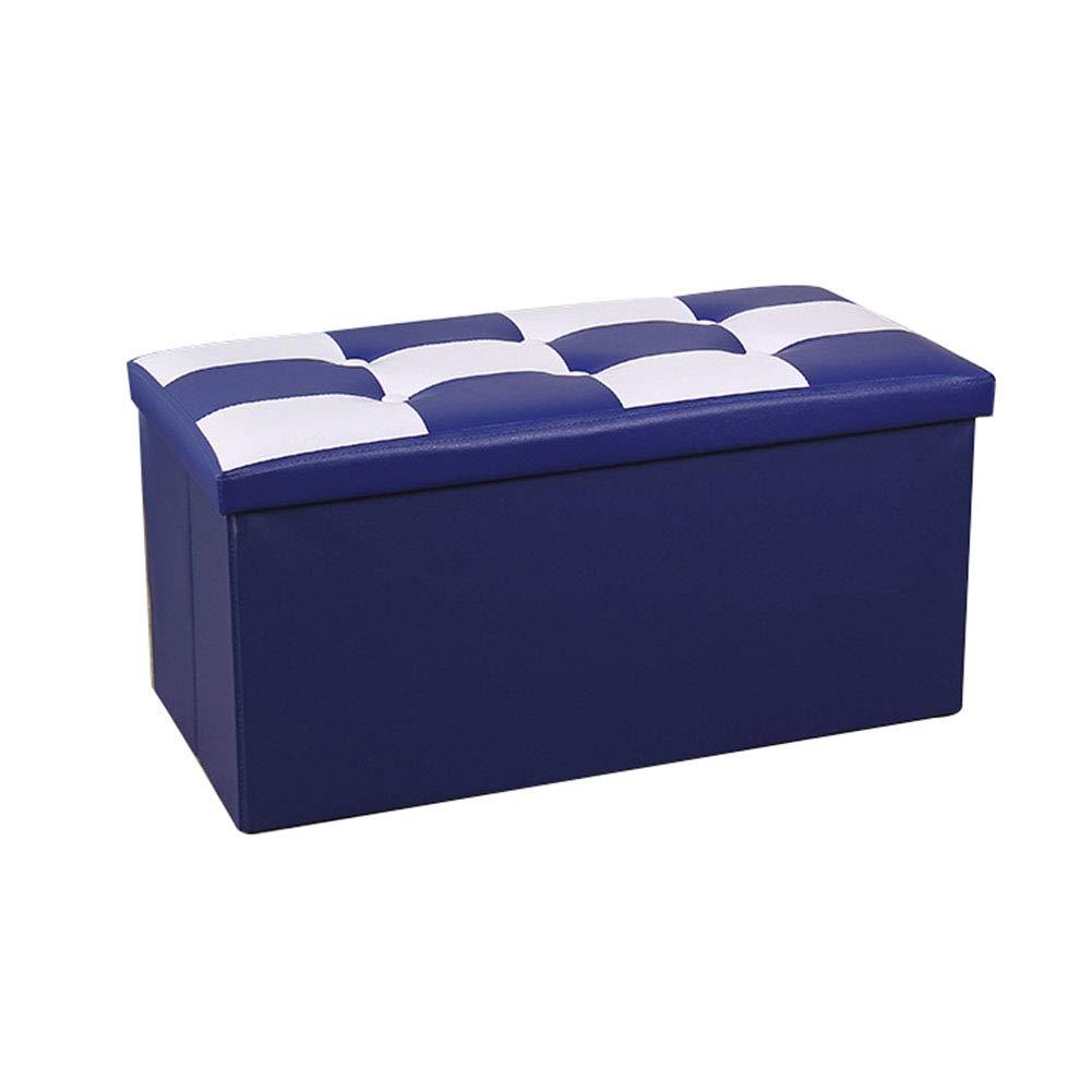 Yao rack Sgabello Rettangolare in Pelle Pieghevole Pouf poggiapiedi Morbido e Confortevole Spazio di Risparmio ottomano 76 × 38 × 38Cm,blu
