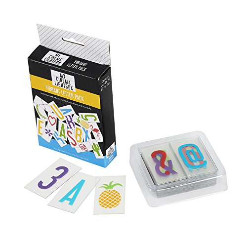 My Cinema Lightbox Extra Letter and Symbol Packs, Colour Letters, Emojis, Fonts, for Light Box Size A5, A4, A3, Plus Storage (A4 - Original Lightbox, Vibrant Colors - Letters, Numbers, Symbols)