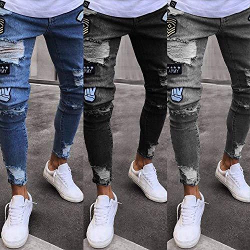 Pantalones Vaqueros Moda De La Delgada Vaqueros Mezclilla Grau Pantalones Rasgados Pantalones Ropa Hombres Vaqueros Vintage De De Ajustados Los Destruidos wqInRSOp