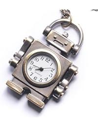 Women's Brass Retro Style Robot Pocket Watch Chain Pendant Necklace, 78 cm