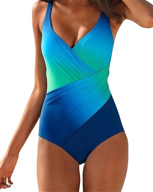 c51d97f39a03 Donna Costumi da Bagno Taglie Forti Costume Intero Modellante A Profondo V  Blu Verde M
