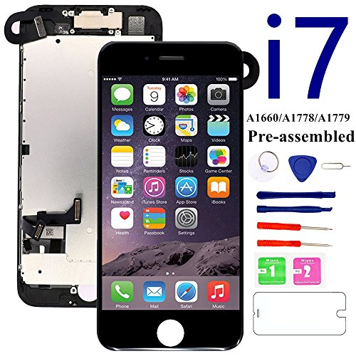 for iPhone 7 Screen Replacement Full Assembly [Black] - MAFIX 3D Touch LCD Display Screen with Proximity Sensor, Earpiece and Front Camera, Repair Tool and Glass Protector