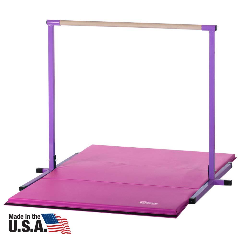 Nimble Sports 4ft Purple Horizontal Bar and 6ft Pink Folding Gym Mat