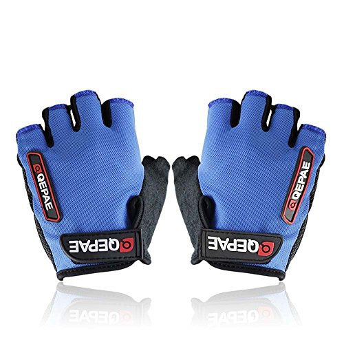 QEPAE Non-Slip Gel Pad Gloves Men's Women's Sportswear Cycling Riding Short Half Finger Gloves Breathable - XL Blue
