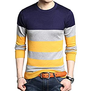 S.FLAVOR Men's Casual Basic Slim Fit O-Neck Pullover Sweater