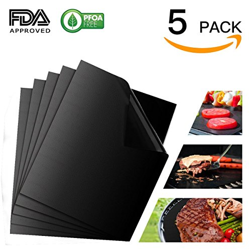 Flexible Grill Basket (Professional Grill Mat of -5 pack, NON-stick BBQ Grilling Mats - Heavy Duty,FDA-Approved,PFOA Free,Reusable and Easy to Clean of Grill Accessories (15.75 x13 Inch))