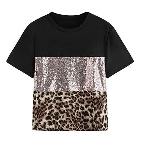 Sunhusing Women's Leopard Patchwork Sequins Embellished Solid Color Round Neck Panel Short Sleeve T-Shirt Top Black