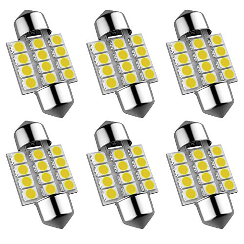 6Pcs DE3175 DE3021 DE3022 31mm/1.25 Festoon LED Bulb, 600 Lumen Super Bright 3528 Chipset LED Bulbs for Interior Car License Plate Dome Map Door Courtesy Lights(Pack of 6)