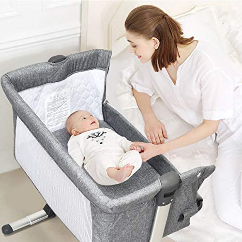 HONEY JOY Baby Bedside Bassinet, Foldable Baby Bedside Crib w Carrying Bag, Breathable Mesh Mattress, Adjustable Height Angle, Bed to Bed Baby Co Sleeper for Infants Newborn Girl Boy, Gray
