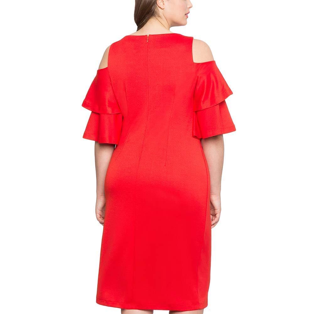 LYLIFE Women Plus Size XL-XXXL Black Red Flare Sleeve Cold Shoulder Midi Dress