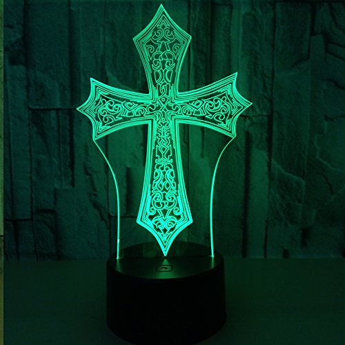 Beside Lamp Lamp Night Lights As a Gift 7 Colors Change LED for Desk Table with Multicolored USB Powered Home Decoration Best Gift for Children (Cross) by King's Bridal (Image #2)