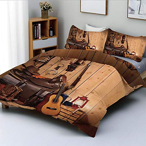 (Duplex Print Duvet Cover Set Twin Size,American Texas Style Country Music Guitar Cowboy Boots USA Folk CultureDecorative 3 Piece Bedding Set with 2 Pillow Sham,Cream and Brown,Best Gift For Kids & Adu)