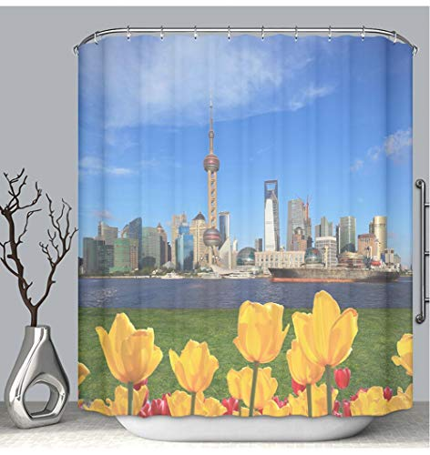 BEICICI Color Shower Curtain Liner Anti-Mildew Antibacterial Shanghai Skyline with Yellow Tulips Flowers of The Front of City Landmark Custom Shower Curtain Bathtub Bathroom Accessories -