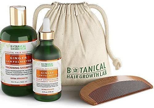 Botanical Hair Growth Lab Anti Hair Loss Shampoo and Pre-Shampoo Scalp Treatment Value Set Ginger - Saw Palmetto For Hair Thinning Prevention Postpartum Alopecia DHT Blocking