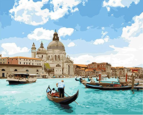 Set Venice - Paint by Numbers, Paint by Number DIY Oil Painting Canvas Set with Brush and Acrylic Paint, Paint by Numbers for Kids, Adults and Beginners, 16x20inch[Venice Grand Canal-BK087]