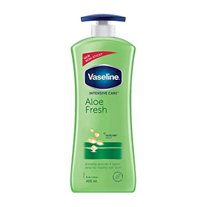 Vaseline Intensive Care Aloe Fresh Body Lotion, With 100% Aloe Extract, Non Greasy, Non Sticky Formula For Hand & Body, 400 ml
