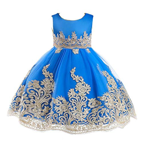 JIANLANPTT Elegant Embroidered Lace Floral Tulle Dress for Girls Princess Birthday Party Dresses 6-7Years Blue 2