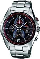 Casio EFR-528RB-1AUER Mens Edifice Black and Silver Steel Bracelet Watch