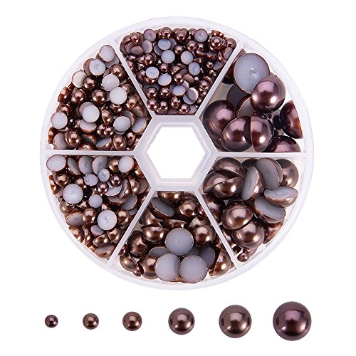 Brown Pearl Imitation (PandaHall Elite 1 Box About 690 Pcs Coconut Brown Assorted Mixed Sizes 4-12mm Flat Back Pearl Cabochons)