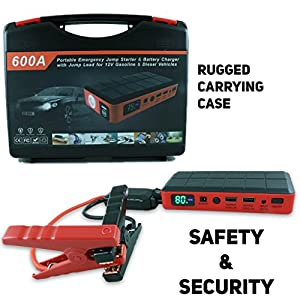 Portable Car Jump Starter by AutoKraze - 600A Peak - 18000mAh - W Smart Jumper Cables & LCD - Starts Up to 6.0L Gas or 5.0 Diesel Engines - Durable Reliable Easy to Use - Charging Ports