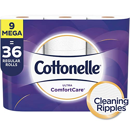 Cottonelle Ultra ComfortCare Toilet Paper, Soft Biodegradable Bath Tissue, Septic-Safe, 9 Mega Rolls