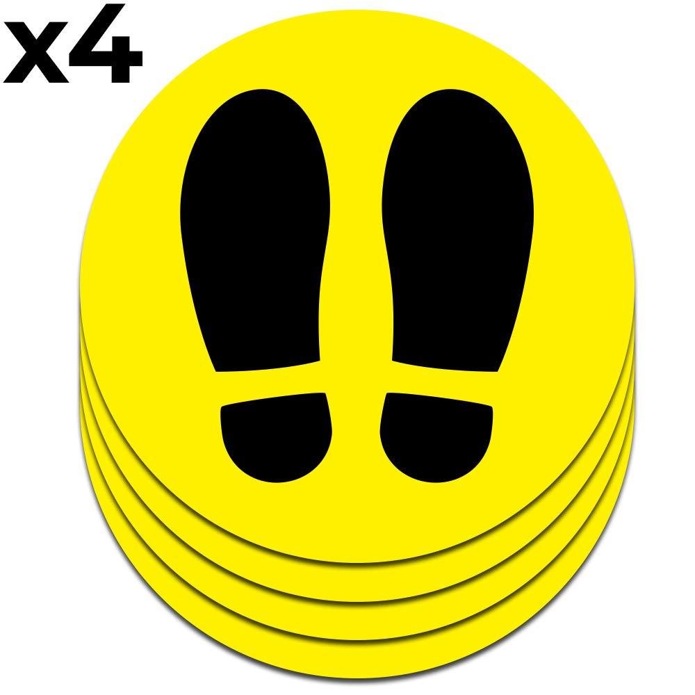 Señal adhesiva huella amarilla para suelo   Separadores para colas de comercios   Pack de 4 unidades de 19 cm (amarillo)