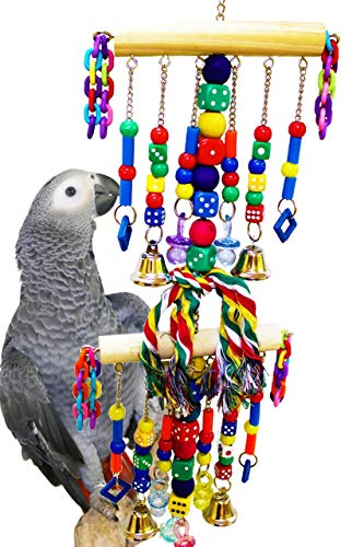 (Bonka Bird Toys 1480 Chain Waterfall Tower Parrot Toy Cages African Grey Amazon Leather Perches Forage Conure Swing Ring Wood Aviary Macaw Climbing Aviary Supplies )