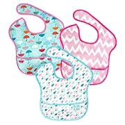 Bumkins Baby Bib, Waterproof SuperBib 3 Pack, G67 (Umbrella/Raindrop/Pink Chevron) (6-24 Months)