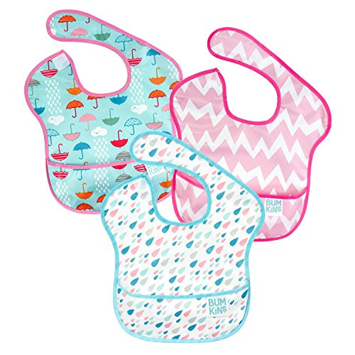 Bumkins SuperBib, Baby Bib, Waterproof, Washable, Stain and Odor Resistant, 6-24 Months, 3-Pack - Umbrellas, Raindrops, Pink Chevron (Blackberry Vinyl Pocket)