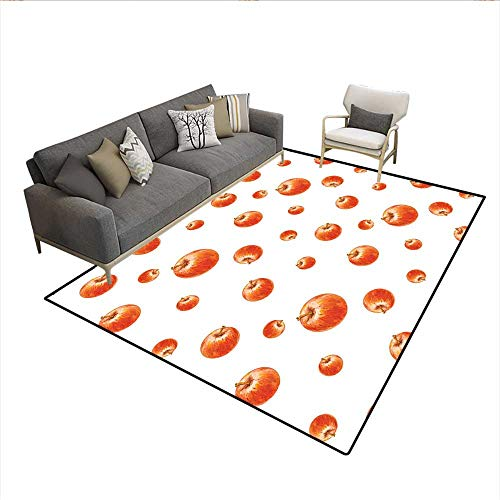 (Floor Mat,Watercolor Style Cameo Apples Abstract Kitchen Elements Brush Stroke Effects,Area Carpet,Vermilion White 6'6