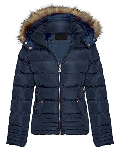 Womens Fur Trim Detachable Hood Zip Bubble Shower Proof Fastening Puffer Padded Quilted Thick Warm Winter Coat Jacket_G135_Navy_L
