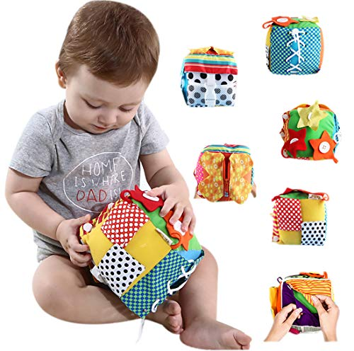 RARITY-US Baby Toddler Learn to Dress Cube - Zip, Snap, Button, Buckle, Lace & Tie, Fine Motor Skills Toys, Learning Basic Life Skills Toy,Baby Early Development Toys Soft Cloth - Infants Fine Motor