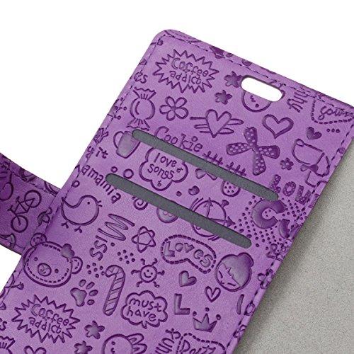 Tiga Shopping Iphone 7 Case - Slim TPU Slot per Scheda Portafoglio Holder Flip Phone Case Cover per Iphone 7(Viola)