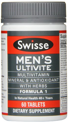 Swisse Men's Ultivite Tablets, Men's Daily Multivitamin, 60 Tablets, Premium Formula of Vitamins, Minerals, Antioxidants and Herbs for Men's Health, for Men 18 and Older*