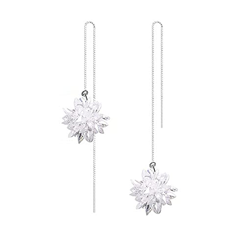 LOCHING Fashion Ice Flower Pearl 925 Sterling Silver Earrings Crystal Snowflake Long Unique Earrings Christmas Gift MQ8ulIIYZ