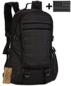 ArcEnCiel 35L Camping Bags Water-Resistant Molle Backpack Military 3P Gym School Trekking Ripstop Woodland Tactical Gear for Men with Patch