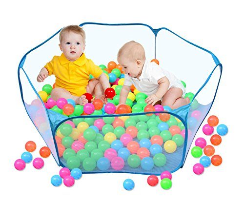 A Blue Ball Pit for Kids, Portable Hexagon Playpen Easy Folding Ball Play Pool Toy Play Tent with Storage Bag for Indoor and Outdoor Balls not Included
