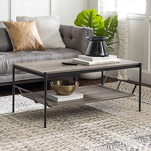 Walker Edison Industrial Wood and Metal Base Rectangle Coffee Table Living Room Accent Ottoman