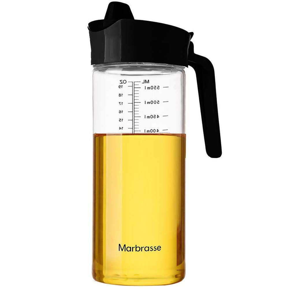 Drip Free Olive Oil Dispenser, Glass Salad Dressing Bottle, Vinegar Dispensing Cruets, Cooking Oil Condiment Containers with Measurement and Easy Pouring Spout for Kitchen by Marbrasse (Black)