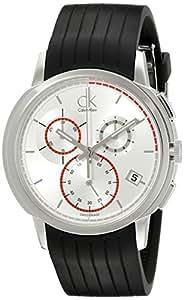 Calvin Klein K1V27926 - Reloj cronógrafo de caballero de cuarzo con correa de goma negra