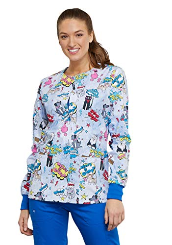 Cherokee Fashion Prints Women's Snap Front Dog Print Scrub Jacket X-Small Print ()